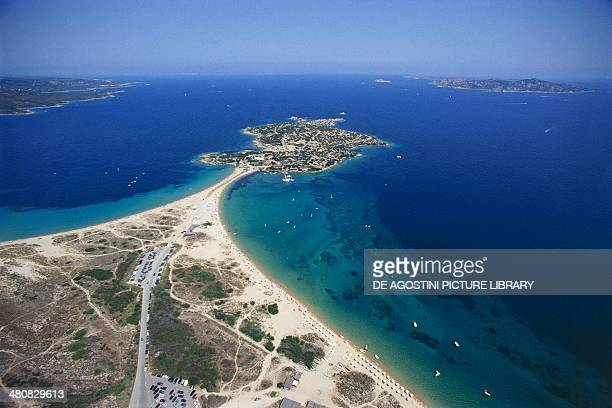 Aerial view of the Isola dei Gabbiani Palau Province of OlbiaTempio Sardinia Region Italy