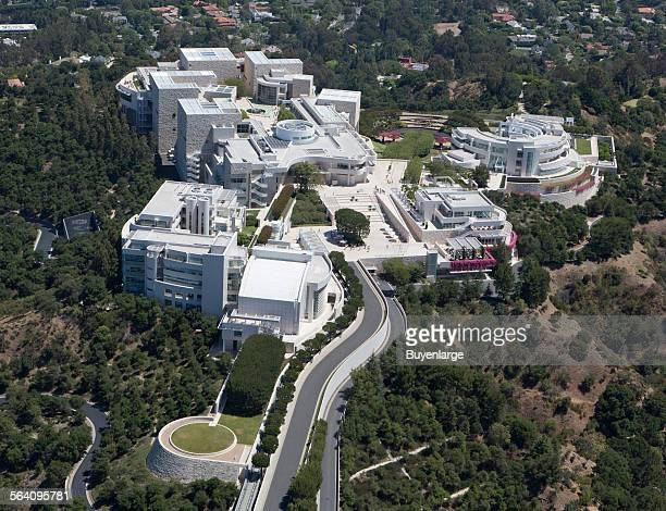 Aerial view of the J Paul Getty Museum of Art in Los Angles California