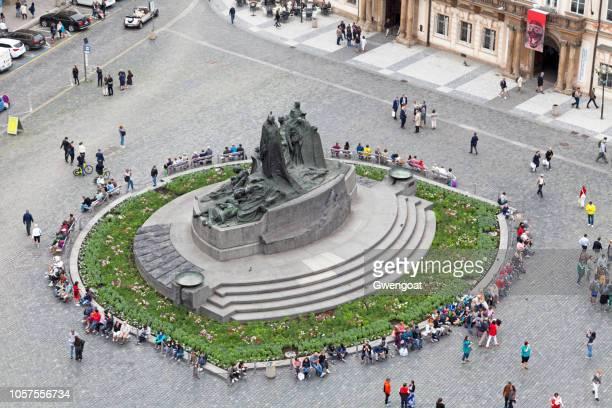Aerial view of the Jan Hus Memorial in Prague
