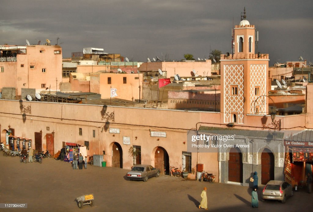 Aerial view of the Jemaa el-Fnaa square in Marrakech, Morocco : Stock Photo