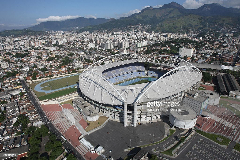 Aerial view of the Joao Havelange Olimpi : News Photo