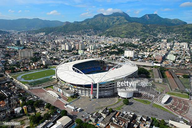 Aerial view of the Joao Havelange Stadium, locally known as Engenhao, on April 11, 2013 in Rio de Janeiro, Brazil. Engenhao will host Track and Field...