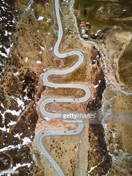 vue aérienne de la julierpass en Suisse