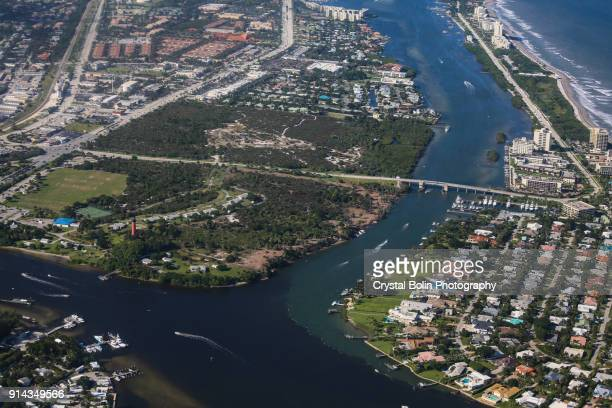 aerial view of the jupiter beach inlet - jupiter florida stock pictures, royalty-free photos & images