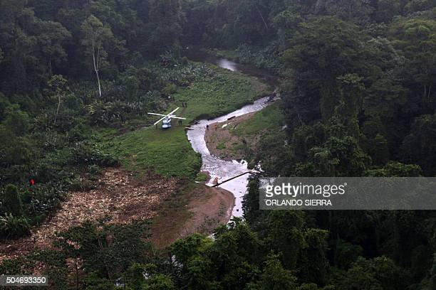 Aerial view of the Kaha Kamasa archaeological site in La Mosquitia northeast of Tegucigalpa on January 12 2016 Honduras started a major...