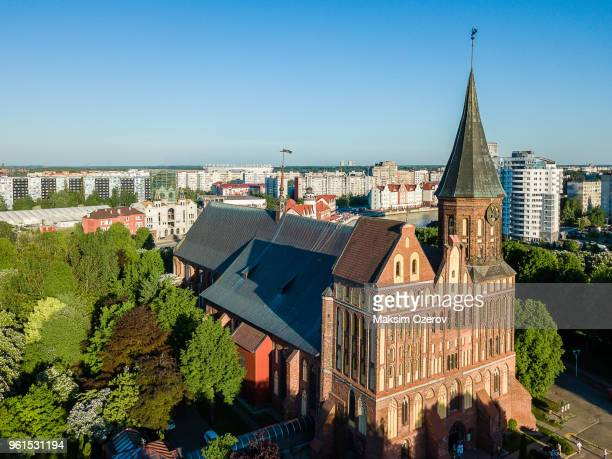 aerial view of the kaliningrad cathedral on kant's island, russia - kaliningrad stock pictures, royalty-free photos & images
