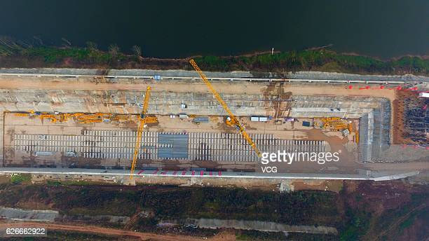 Aerial view of the keel of a replica of Titanic on November 30 2016 in Suining Sichuan Province of China The Sinking of Titanic Keel Laying Project...