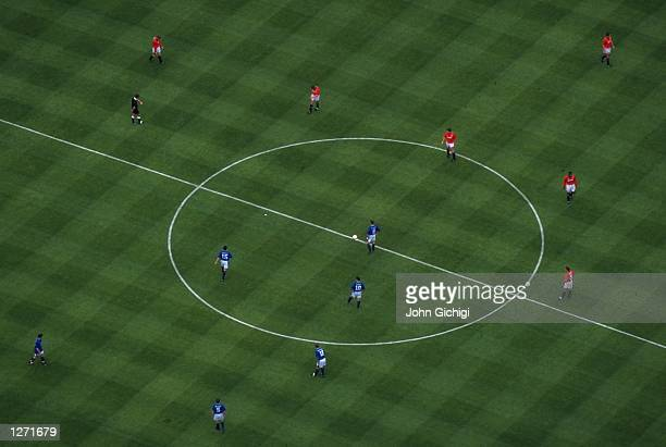 Aerial view of the kickoff during the FA Cup final between Everton and Manchester United at Wembley Stadium in London Everton won the match 10...