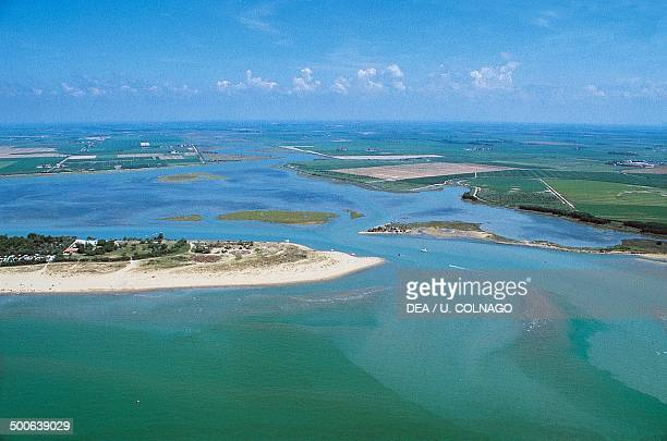 Aerial view of the lagoon of Grado, Friuli-Venezia Giulia, Italy.