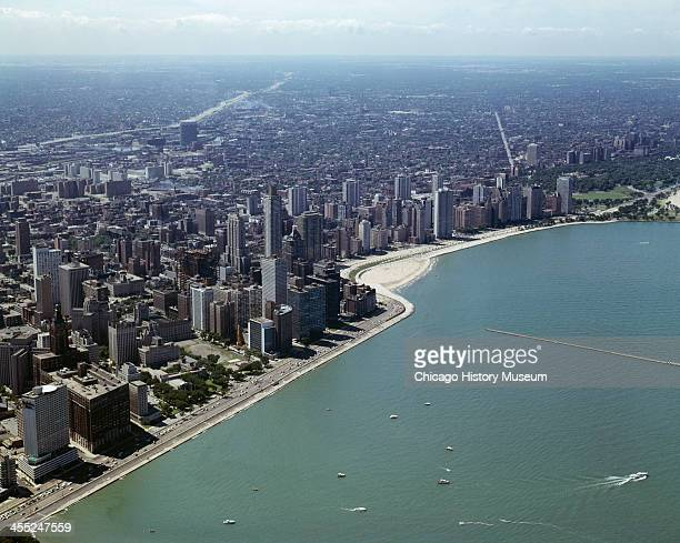 Aerial view of the Lake Michigan shoreline and city skyline Chicago Illinois mid 20th century