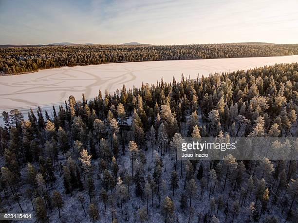 Aerial view of the lake Torassieppijärvi near the Pallas-Yllästunturi National Park - Lapland, Finland