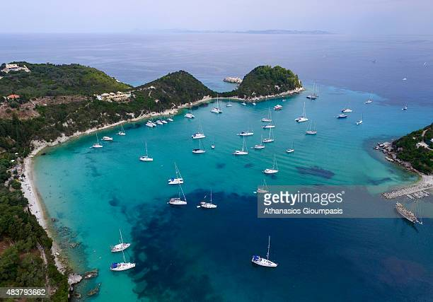 Aerial view of The Lakka bay on August 08 2015 in Paxos GreeceLakka is a popular tourist destination for yachting windsurfing snorkeling and swimming...