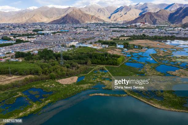 Aerial view of the Lalu wetland on May 28 2020 in Lhasa Tibet Autonomous Region of China Lalu wetland national nature reserve with an altitude of...