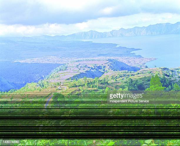 Aerial view of the landscape around Lake Batur on the island of Bali Indonesia