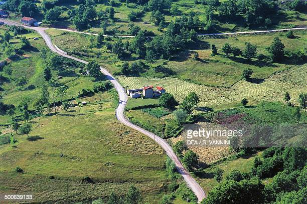 Aerial view of the landscape between Castelnuovo di Garfagnana and Radici Pass Garfagnana Tuscany Italy