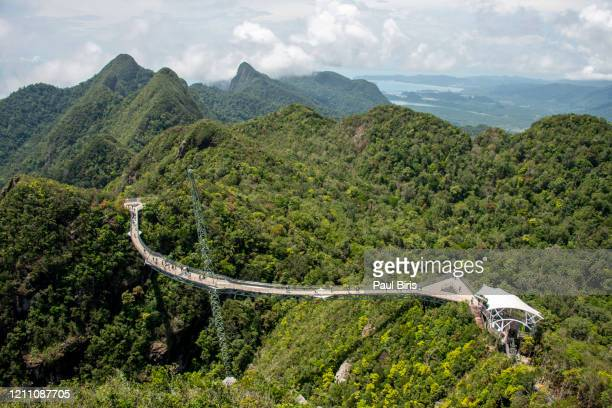 aerial view of the langkawi sky bridge, langkawi island, malayesia - elevated walkway stock pictures, royalty-free photos & images