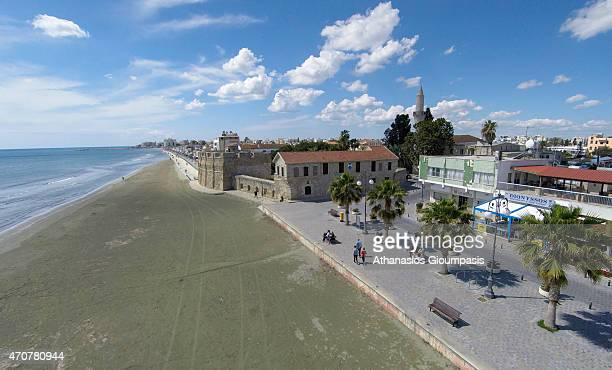 Aerial view of The Larnaca Castle at Larnaca seafront and Phoinikoudes beach on April 12 2015 in Larnaca CyprusLarnaca Castle is a castle located on...