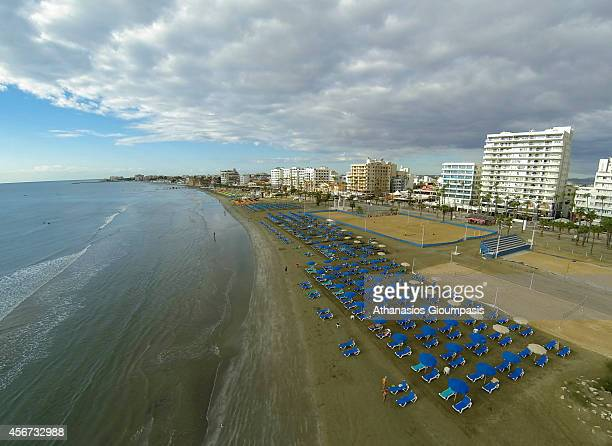 Aerial view of The Larnaca seafront and Phoinikoudes beach on September 28 2014 in Larnaca Cyprus Athinon Avenue located at Foinikoudes promenade...