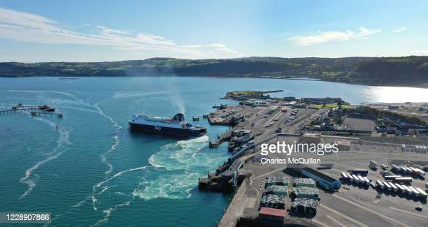 Aerial view of the Larne to Cairnryan ferry and the port of Larne on October 4, 2020 in Larne, Northern Ireland. Last month the UK government...
