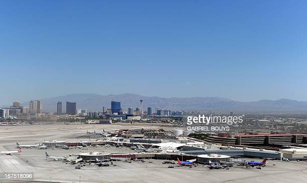Aerial view of the Las Vegas McCarran International Airport with the Las Vegas Boulevard the Strip in the background on June 10 2011 The Las Vegas...