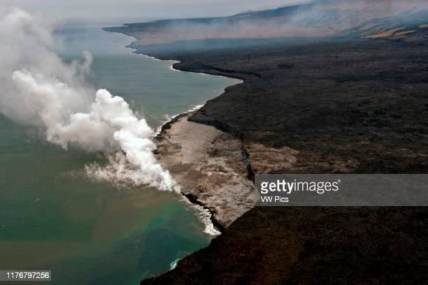 Aerial view of the lava flow from Kilauea Volcano reachingg the Pacific ocean Kalapana Big Island Hawaii USA