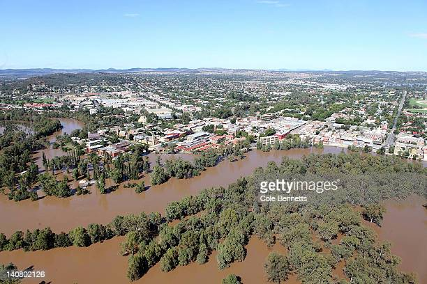 Aerial view of the levee bank holding back the massive flood waters on March 7, 2012 in Wagga Wagga, Australia. 9000 evacuated residents are waiting...