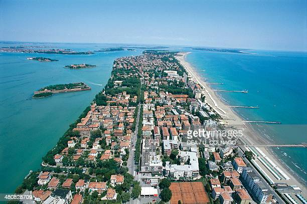 Aerial view of the Lido of Venice Veneto Region Italy