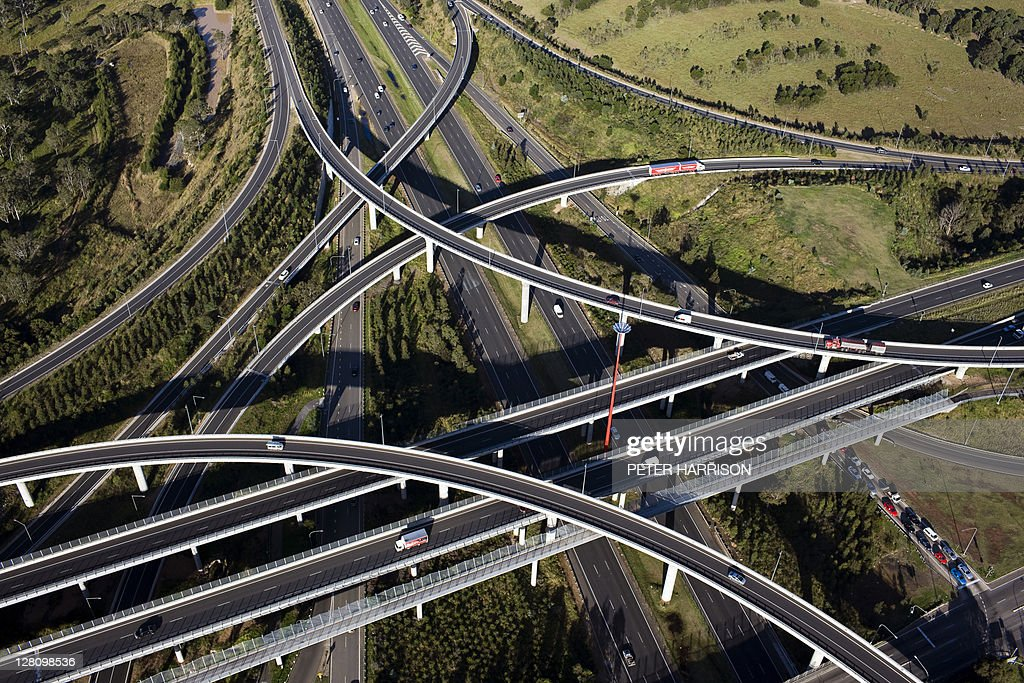 Aerial view of the Lighthorse Interchange, junction of the M7 and M4 motorways, Eastern Creek, Sydney, NSW, Australia. : Stock Photo