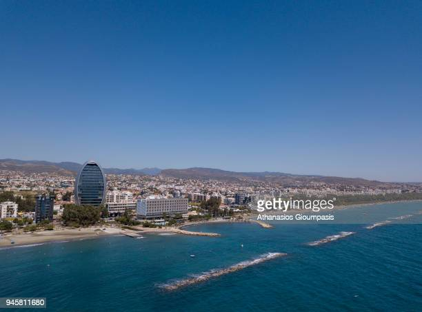 Aerial view of the Limassol coastal front and promenade on April 04 2018 in Limassol Cyprus