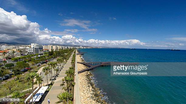 Aerial view of The Limassol coastal front and promenade on April 12 2015 in Limassol Cyprus Limassol or Lemesos is a city on the southern coast of...