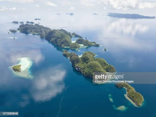 Aerial view of the limestone islands near Misool in Raja Ampat.
