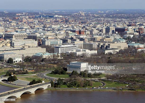 A aerial view of the Lincoln Memorial photographed on December 9 2011 in Washington DC