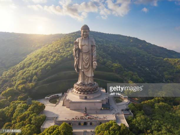 aerial view of the lingshan  buddhist  scenic spot, wuxi city, jiangsu province, china - jiangsu province stock pictures, royalty-free photos & images