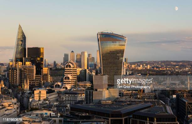 aerial view of the london skyline at dusk. london, uk. - tim grist stock pictures, royalty-free photos & images