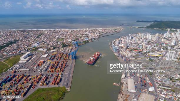aerial view of the lower itajai river - alexandre coste foto e immagini stock