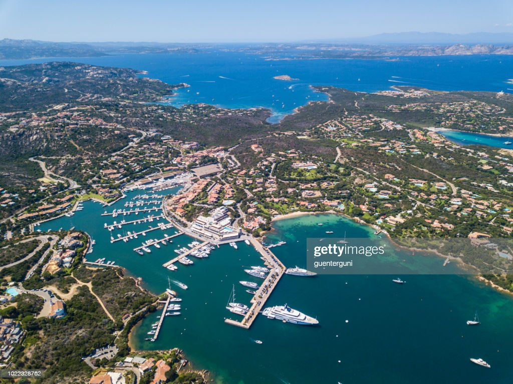 Aerial view of the luxury marina, Porto Cervo, Sardinia, Italy : Stock Photo