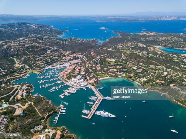 Aerial view of the luxury marina, Porto Cervo, Sardinia, Italy