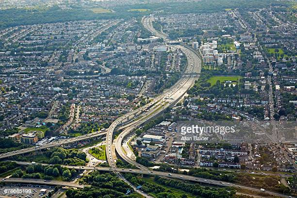 aerial view of the m11 in woodford and wanstead - redbridge stock pictures, royalty-free photos & images