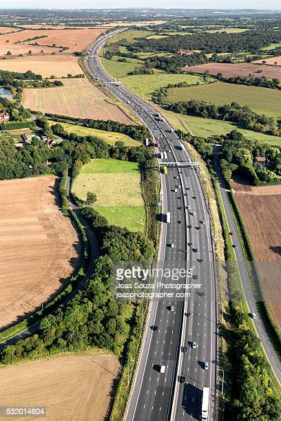 Aerial view of the M25 Motorway, England.