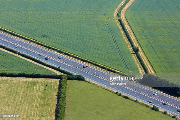 aerial view of the m40, oxfordshire - motorway stock pictures, royalty-free photos & images