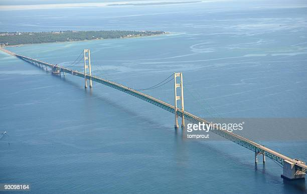 aerial view of the mackinac bridge, michigan, usa - mackinac island stock pictures, royalty-free photos & images