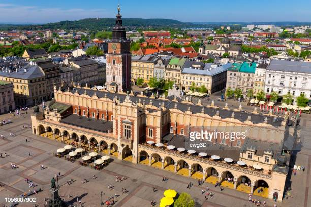 aerial view of the main market square of krakow, poland - malopolskie province stock pictures, royalty-free photos & images