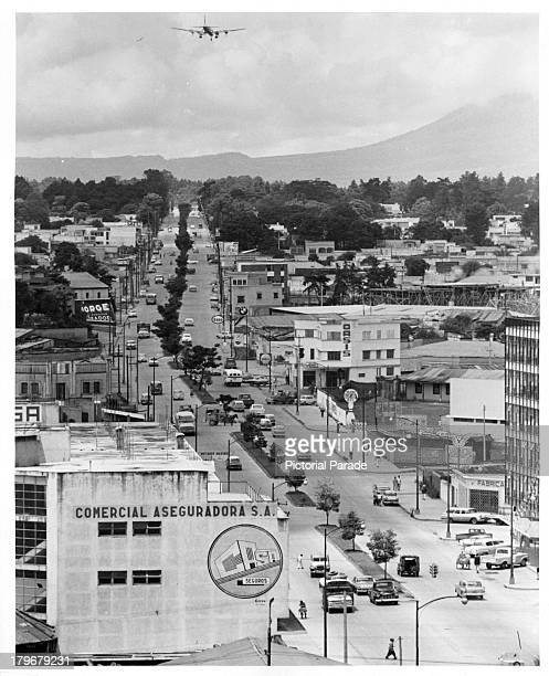 A aerial view of the main road toward Guatemala International Airport from the Municipal building in Guatemala City Guatemala