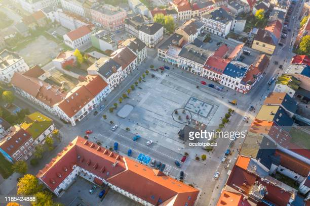 aerial view of the main square in oświęcim, morning sun, auschwitz - concentration camp stock pictures, royalty-free photos & images