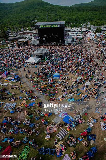Aerial View of the main stage and crowd during Michael Franti and Spearheads performance at the10th Annual Mountain Jam at Hunter Mountain on June 8...