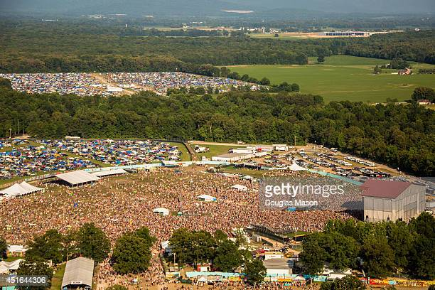 Aerial view of the Main Stage 'What Stage' and camping during the 2014 Bonnaroo Music Arts Festival on June 15 2014 in Manchester Tennessee