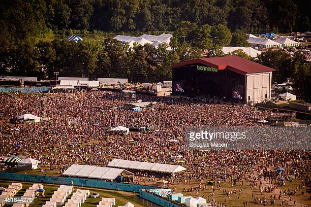 Aerial view of the Main Stage 'What Stage' during the 2014 Bonnaroo Music Arts Festival on June 15 2014 in Manchester Tennessee
