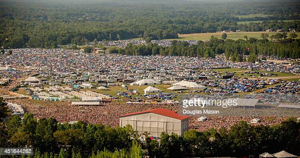 Aerial view of the Main Stage 'What Stage' VIP camping and camping during the 2014 Bonnaroo Music Arts Festival on June 15 2014 in Manchester...