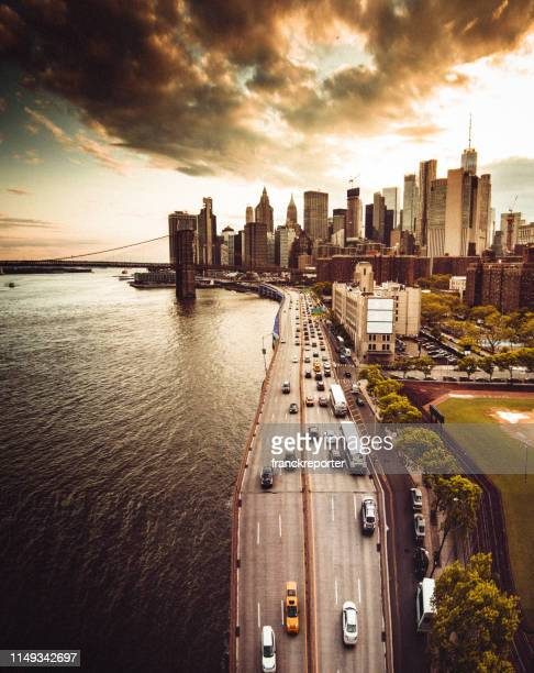 aerial view of the manhattan skyline - lower east side manhattan stock pictures, royalty-free photos & images