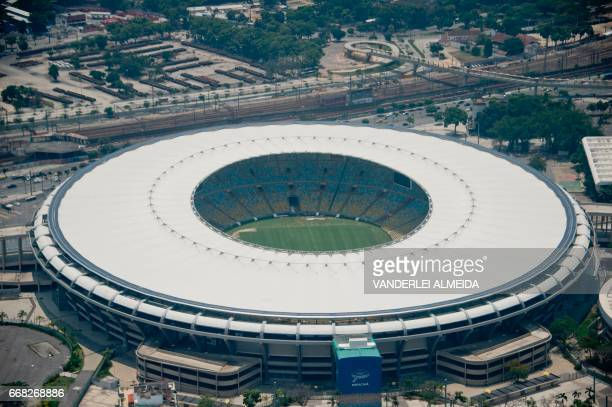 Aerial view of the Maracana Stadium in Rio de Janeiro Brazil on February 3 2016 Overbilling bribes everywhere Brazil's corruption megascandal doesn't...